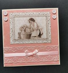 Pink vintage baby card
