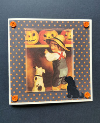 Boy and dogs halloween card