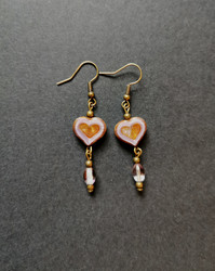 Amber heart earrings