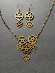 Steampunk gear jewelry set