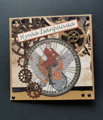 Isänpäiväkortti steampunk moottoripyöräilijä