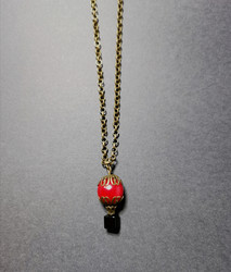Red hot air balloon necklace