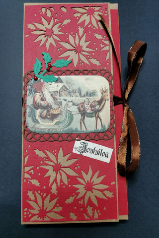 Chocolate bar card with an elf in a sleigh