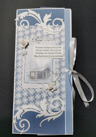Blue chocolate bar card with a poem