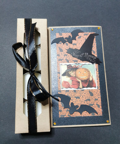 Halloween candle card with bats
