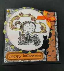 Halloween kortti tyttö ja kurpitsat