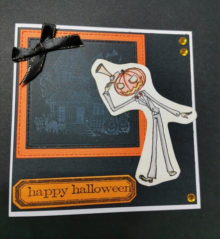 Halloweenkortti kurpitsaukko