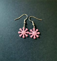 Pink snowflake earrings