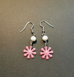 Pink snowflake earrings with White beads