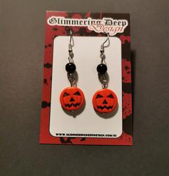 Carved pumpkin earrings