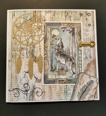 Dreamcatcher card with a wolf
