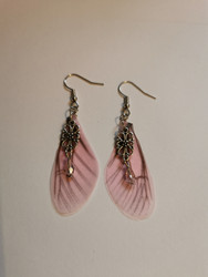 Pink fairy wing earrings