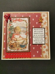 Girl baking Christmas card