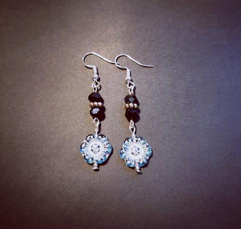Blue flower earrings with black beads