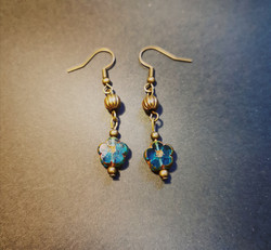 Blue flower earrings with bronze beads