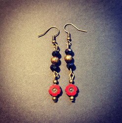 Red flower earrings with black beads