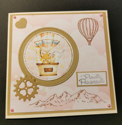 Pink animal and hot air balloon card