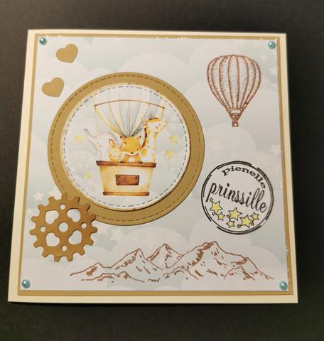 Animal and hot air balloon card