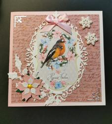 Joulukortti linnut vaaleanpunainen
