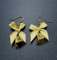 Gold colored bell earrings