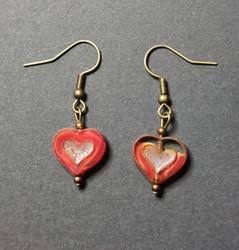 Red glass heart earrings