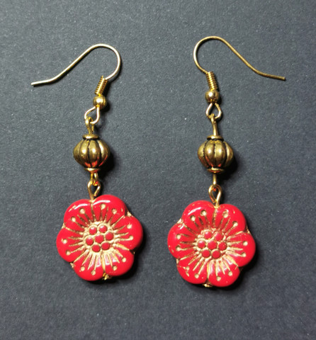Red and gold Flower Earrings