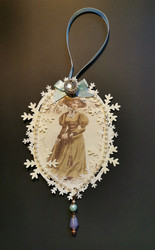 Vintage woman christmas ornament