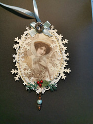 Vintage woman christmas ornament 2