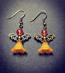 Orange angel earrings