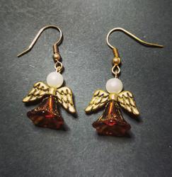 Brown angel earrings