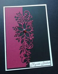 Joulukukka kortti viininpunainen