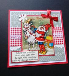 Joulukortti tonttu ja pukki