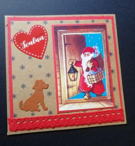 Santa Claus and dog Christmas card