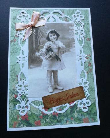 Vintage girl Christmas Card