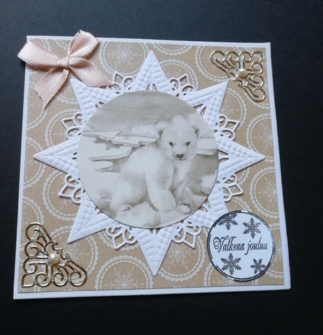 Christmas card with a polar bear and a bow