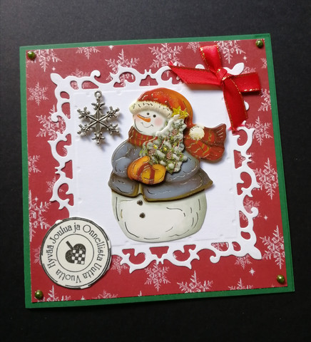 Lumiukko joulukortti hiutaleella