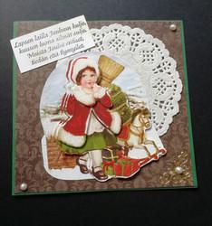 Joulukortti tyttö ja keinuhevonen