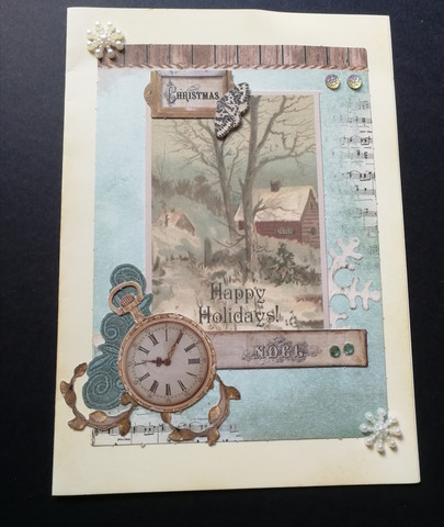 Vintage Christmas card with a clock