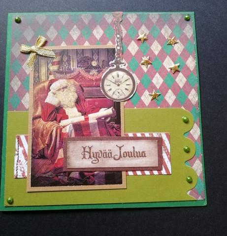 Santa with clock Christmas card