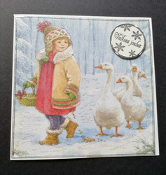 Girl and goose Christmas card