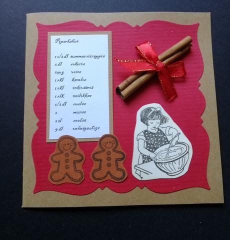 Christmas card with a girl and cinnamon