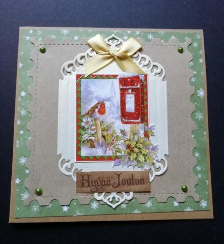 Joulukortti lintu postilaatikolla