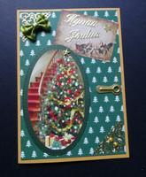 Joulukortti kuusi ja portaat