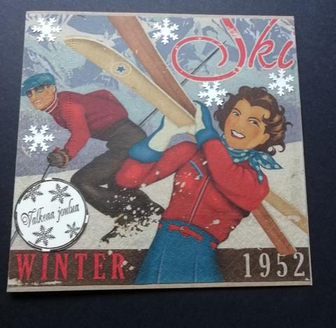Joulukortti hiihto
