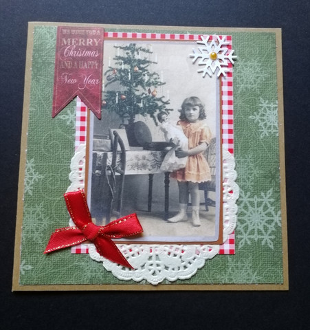 Christmas card with a girl and snowflakes