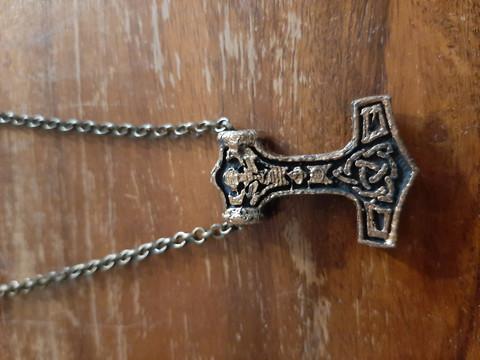 Viking necklace bronze colored Mjolnir