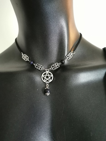 Pentagram necklace with sandstone beads