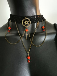 Lace necklace with gear and key