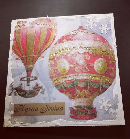 Joulukortti kuumailmapallo 2
