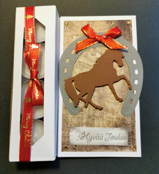 Horse Christmas candle card